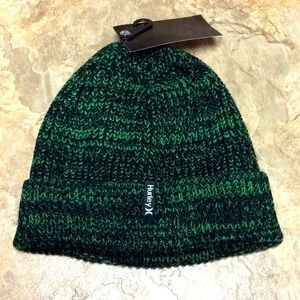 Green & black Hurley knit beanie hat